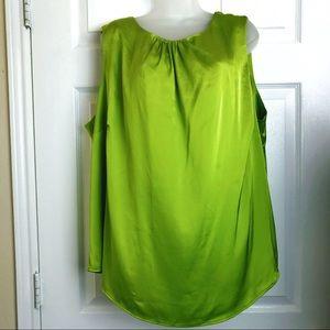 The Limited satin like sleeveless blouse lime
